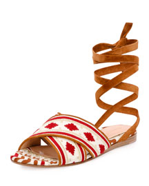 Geometric-Embroidered Ankle-Wrap Flat Sandal, Brown/White