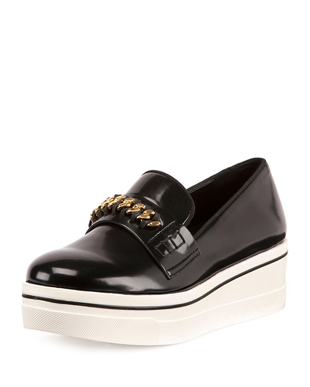 Stella McCartney Binx Curb-Chain Platform Sneaker, Black, Women's, Size: 37.0B/7.0B