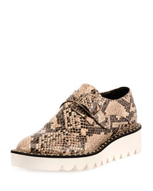 Snake-Embossed Buckle Sneaker, Shell