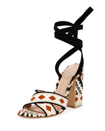 Geometric-Print Ankle-Wrap Sandal, Brown/White