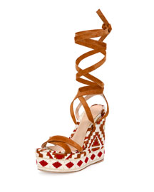 Suede Geometric-Print Lace-Up Wedge Sandal, Brown/White