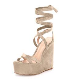 Platform Suede Leg-Wrap Sandal, Cashmere