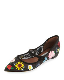 Hermione Meadow Mary Jane Flat, Black
