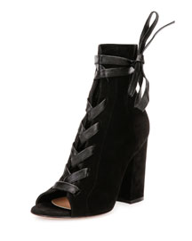 Lace-Front Peep-Toe Suede Ankle Boot, Black