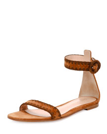 Braided Suede Flat d'Orsay Sandal, Light Brown