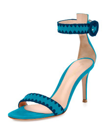 Braided Suede d'Orsay Sandal, Turquoise