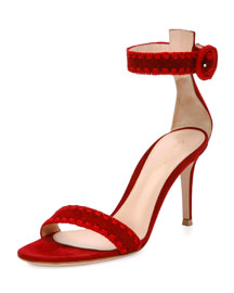 Braided Suede d'Orsay Sandal, Red