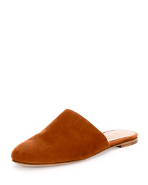 Flat Suede Round-Toe Mule Flat, Light Brown