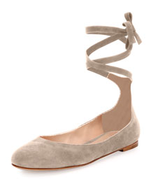 Suede Ankle-Wrap Ballerina Flat, Light Gray