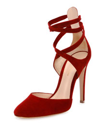 Suede Ankle-Wrap d'Orsay Pump, Red