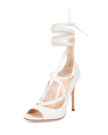 Open-Toe Leather Lace-Up Pump, Off White