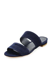 Suede Two-Band Flat Slide Sandal, Navy Blue