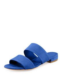 Suede Two-Band Flat Slide Sandal, Royal