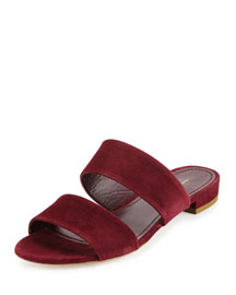 Suede Two-Band Flat Slide Sandal, Rococo