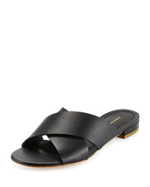 Leather Crisscross Flat Slide Sandal, Black
