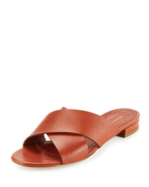 Leather Crisscross Flat Slide Sandal, Brandy