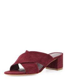 Suede Crisscross 40mm Slide Sandal, Rococo
