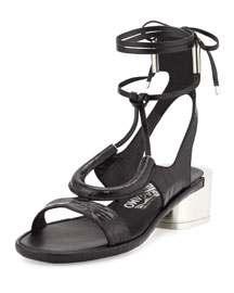 Glorja Stamped Leather Sandal, Black