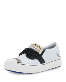 Studded Face Leather Skate Sneaker, Black/White