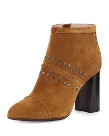Studded Suede Ankle Bootie, Camel