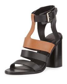Coria Two-Tone Leather Block-Heel Sandal, Black/Brown