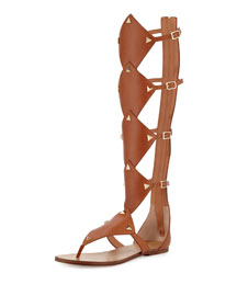 Basper Studded Knee-High Gladiator Sandal, Tan