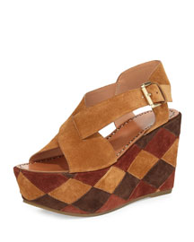 Gella Patchwork Wedge Platform Sandal, Tan