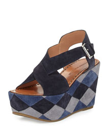 Gella Patchwork Wedge Platform Sandal