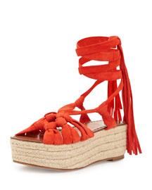 Cosie Knotted Suede Espadrille Sandal, Orange