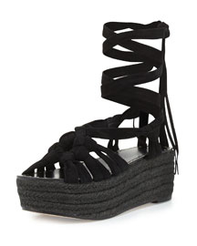 Cosie Knotted Suede Espadrille Sandal, Black