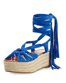 Cosie Knotted Suede Espadrille Sandal, Blue