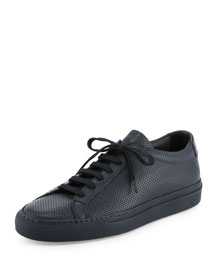 Achilles Perforated Low-Top Sneaker, Navy