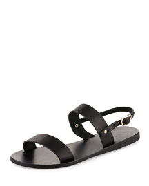 Clio Double-Band Flat Slingback Sandal, Black
