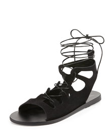 Antigone Gladiator Lace-Up Flat Sandal, Black