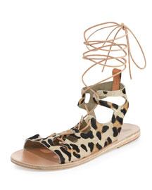 Antigone Lace-Up Calf Hair Sandal, Leopard