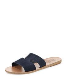Apteros Double-Band Flat Slide Sandal, Blue