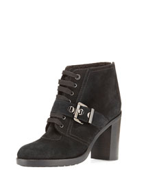 Brooke Faux-Fur-Lined Ankle Boot, Black