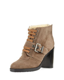 Brooke Faux-Fur-Lined Ankle Boot, Taupe