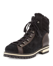 Edwina Shearling Fur-Lined Hiking Boot, Black/Espresso