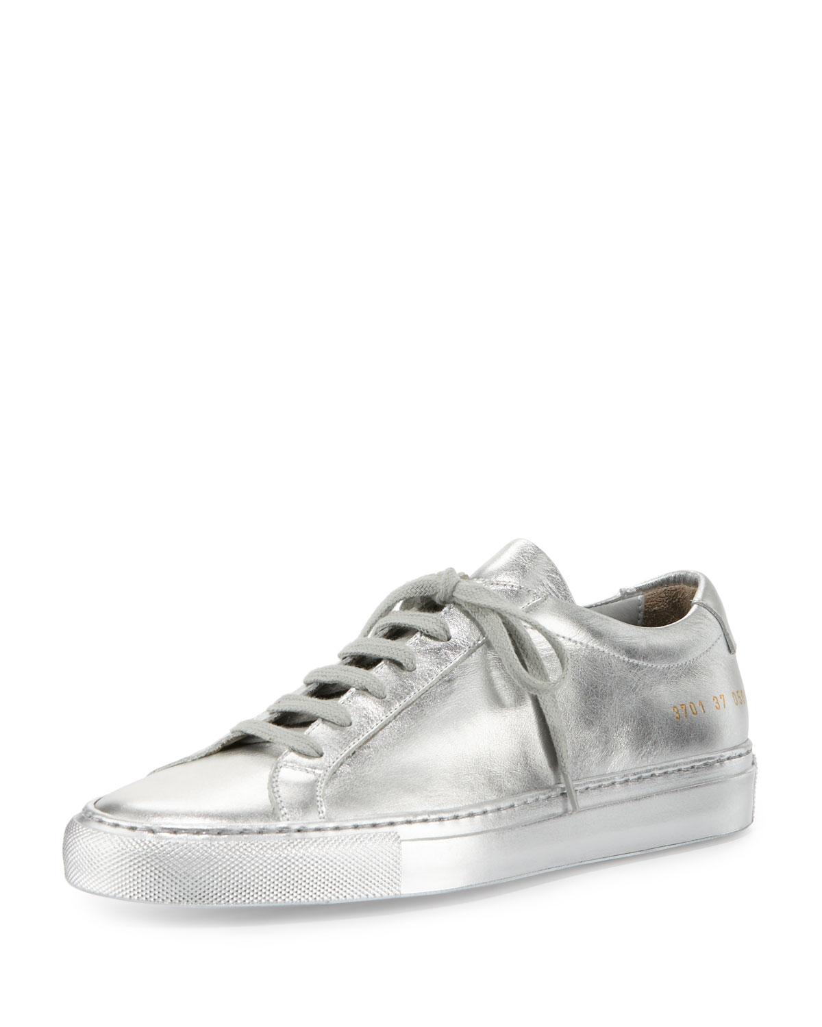 Common Projects Achilles Leather Low-Top Sneaker, Silver, Women's, Size: 34.0B/4.0B