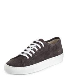 Achilles Suede Low-Top Sneaker, Dark Gray