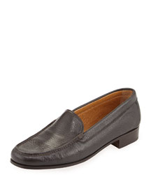 Pebbled Leather Venetian Loafer, Brown