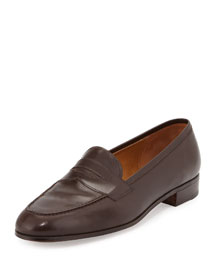 Calf Leather Penny Loafer, Dark Brown