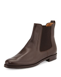 Calfskin Leather Chelsea Boot, Brown