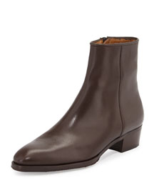 Low-Heel Zip Ankle Boot, Brown