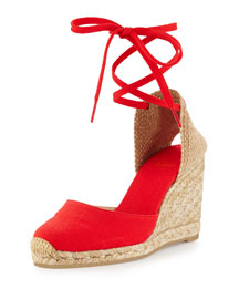 Carina Canvas Espadrille Wedge, Rojo Red
