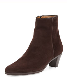 Suede Stacked-Heel Bootie, Brown