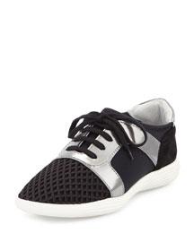 Georgia Suede & Mesh Low-Profile Sneaker, Black