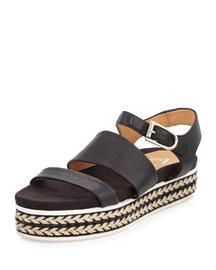 Celina Flatform Leather Espadrille Sandal, Black
