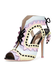 Riko Colorblock Lace-Up Sandal, Aqua Pastel